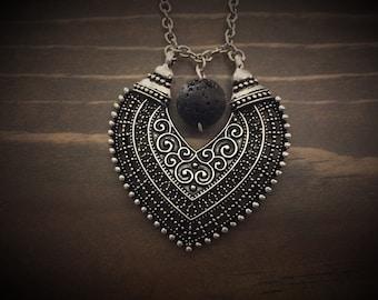 Tibetan Silver Lava Stone Pendant Necklace, Essential Oil Diffuser Jewelry, Aromatherapy