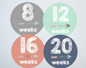 Maternity Stickers, Milestone Stickers, Pregnancy Stickers, Baby Belly Stickers, Pregnancy Reveal, Tribal Arrow
