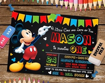 Mickey mouse invitation etsy on sale 40 mickey mouse invitation filmwisefo
