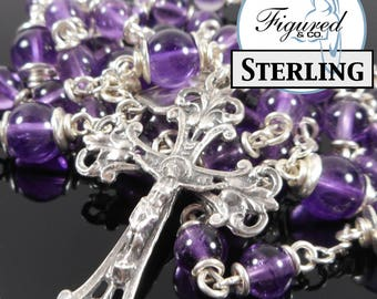 Catholic Rosary - Purple Amethyst in Sterling Silver - Heirloom Rosary Beads