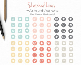 Social Media Icons - Website and Blog Icons - Blog Buttons