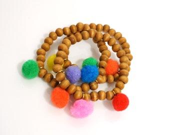 Multicolor Mini Pom Pom Wood Beaded Bracelet