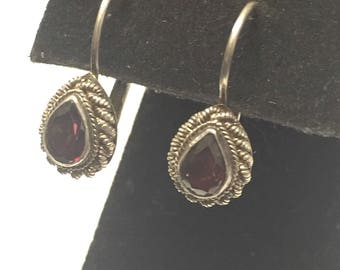 Vintage Sterling Silver Garnet Levelback Earrings Signed FAS