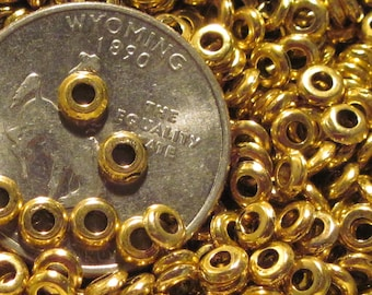 Rounded Metal Heishi Spacer Beads- 2mm x 4mm Gold Tone Flat Disks- *Choose Lots of 25 or 100 *