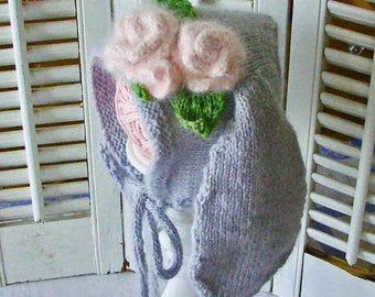 Bunny Hat Baby or Toddler Lop Eared Bunny Hat Pink Roses RTS 6-12M Lt Tan