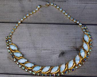 Vintage Bead and Rhinestone Necklace Blue