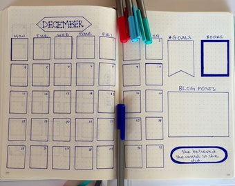 4 bullet journal stencils for calendars, decorations, weekly spreads.