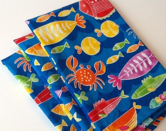 "Fish Crab Lobster Summer, 12""x12"" Cotton Napkins , Set of 6"