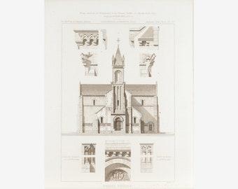 Church Architectural Design Columns Window Arches 1883 Architecture Print