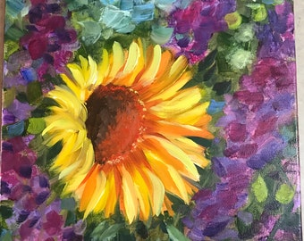 small oil painting, sunflower
