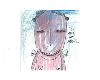 Angel lover gift, Aceo original, Angel Drawing, Weird art original, Surrealist art card, Original folk art, Atc, outsider art guardian angel