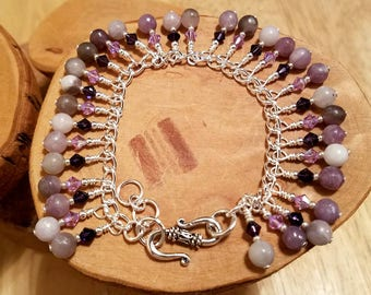 Lovely Lilac purple gemstone and Swarovski crystal cha cha chain bracelet ... and it's adjustable too!