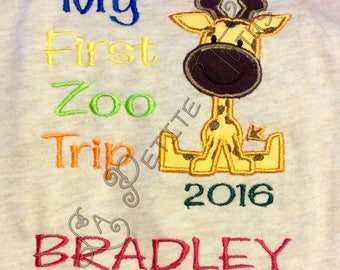Giraffe zoo shirt, safari shirt, boy shirt, boys clothing, girls shirt, girls clothing, toddler shirt, toddler clothing, onepiece, clothing,