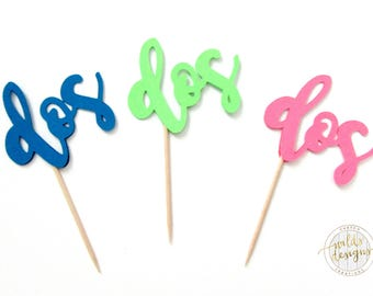 dos, second birthday, two, cupcake topper, birthday, shower. Sets of 12