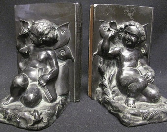 Antique RONSON Allegory Bookends Book Ends Cherub Frog and Butterfly