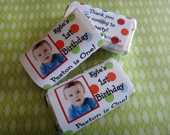 Blue Green Red Orange Polka Dots Candy Bar Wrappers for Boy or Girls 1st 2nd 3rd 4th Birthday Party Favors