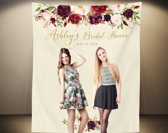 Marsala Bridal Shower Photo Booth Backdrop, Bridal Shower Decorations, Floral Cake Table Backdrop, Hen Party Decor, Engagement Party, Fabric