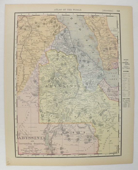 1899 Abyssinia Map Vintage Map Abyssinia Egypt Map Somalia