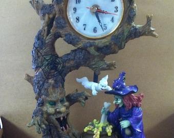 Vintage Retro Halloween Decor Quartz Mantle Clock Witch Cauldron Ghost Trees Bubble Toil Trouble Colorful Handpainted Resin
