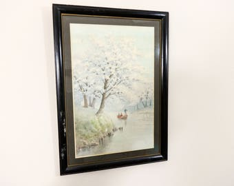 Cherry Blossoms by Lake Watercolor Landscape Painting by Japanese Artist Shigesaburo S Ishida