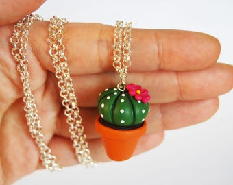 Cactus Succulent long necklace in fimo-Fuchsia flower-collection CactusLovers