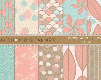 Digital Paper 'Étude' Blue Turquoise, Brown, Pink Flowers, Leaves, Polka Dots, Fish Scales... Digital Scrapbook Paper Instant Download