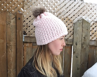 Summit Faux Fur Pom Pom Pink Beanie