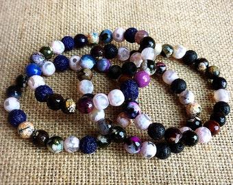 Lava Rock Bracelets, oil diffuser jewelry, diffuser bracelets, agate gemstone bracelets, moon jewelry, star jewelry, fall bracelets