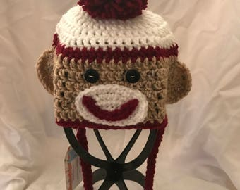 Sock Monkey Hat Red