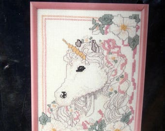 Cross Stitch Kits Swan Unicorn 2 Unopened 5x7 w Pink Frames Mystical Dreamy Girls Room
