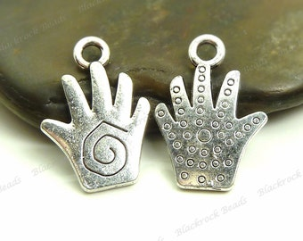 10 Hand Charms Double Sided Pattern - Antique Silver Tone Metal - 18x12mm - BA1