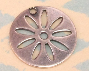 Daisy Disk Charm, Antiqued Silver, 2 Pc. AS209