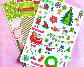 Traditional Christmas Themed Sticker Kit for your ECLP - 120 Stickers