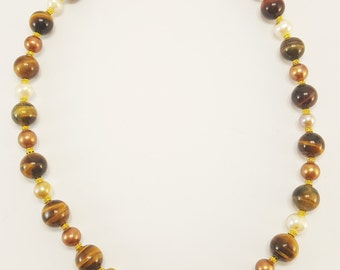 "Tigers Eye and Pearl Necklace with Polished Gemstones Vermeil S-clasp 20.5""   J009"