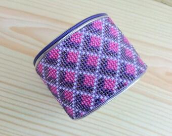 Pink and purple Beadloomed Cuff Bracelet.  Beadwoven Bracelet