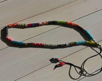 "multicolored ""fabric"" adjustable necklace - model 3"