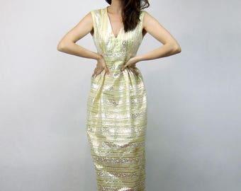 Metallic Maxi Dress Sleeveless 70s Boho Dress 1970s Long Sundress Lime Yellow - Medium M