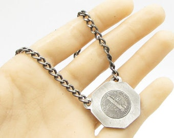 925 sterling silver - antique usa one dime coin traditional chain necklace n1058