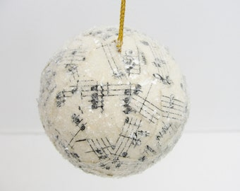 "Vintage sheet music ornament 2.5"" ball"
