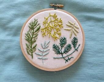 "Handmade Botanical Embroidery, 5"" Embroidery Hoop"