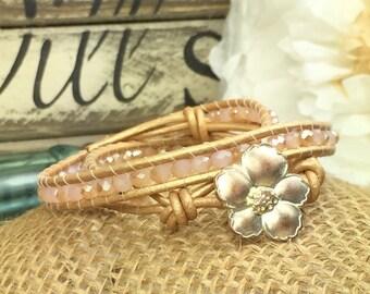 Wrap rose et or Bracelet, Bracelet de cuir, les femmes Boho en perles Bracelet, cadeau d'anniversaire pour elle