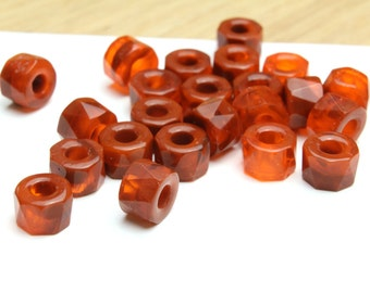 Marbleized Red and Rust Faceted Rondelles with Large Hole 6x9mm 6pcs