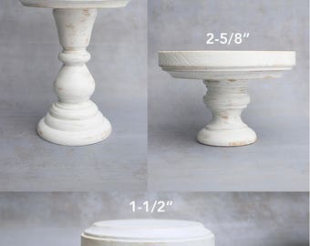 Wooden Pillar Style Candle Holders - Pair, Set or Single Hand Painted Shabby Chic Distressed White Wood Candlestick Holder