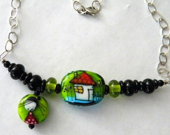House Girl Lady Women Lampwork Beads Bead Necklace with Sterling Silver Chain and Black Lampwork Beads Artist Egija Straujume