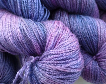 Hand dyed, purple, pink,  silk and BFL yarn, knit, crochet, weave