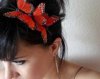 butterfly headband - orange butterflies hair piece - three orange butterflies headband  - boho hair accessory - whimsical hair piece - MEGAN