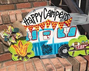 Camper Sign - Camping Door Hanger - Camping Decor - Camper Decor - Campground Decorations - Glamping - Glamping Sign