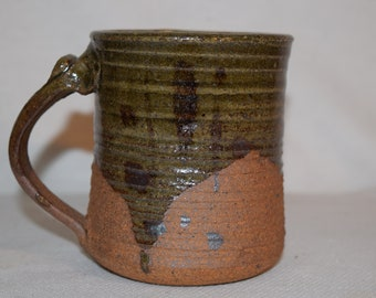 Stoneware Green Coffee Cup Mug Initialed by Artist Heavy Glaze Art Pottery