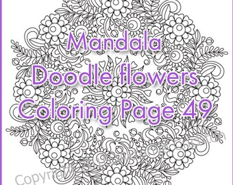 Coloring page PDF doodle flowers - wreath (mandala, zendala), printable art, zentangle inspired, or children and adults