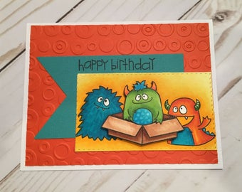 Happy Birthday!-Happy Birthday Card-Monsters Birthday Card-Handmade Card-Handmade Greeting-Avery Elle Stamps